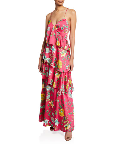 Tiered Floral-Print Ruffle Open-Back Maxi Dress