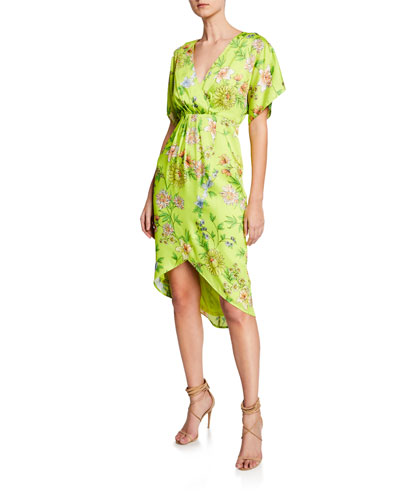 Dolman-Sleeve Pleated Floral Short-Sleeve Dress