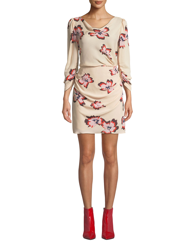 5b25017acf56 A.L.C. Grace Floral-Print Cowl-Neck 3/4-Sleeve Mini Dress | Neiman ...