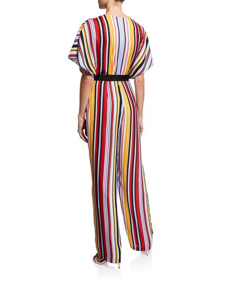 Aidan by Aidan Mattox Striped Dolman-Sleeve Belted Jumpsuit