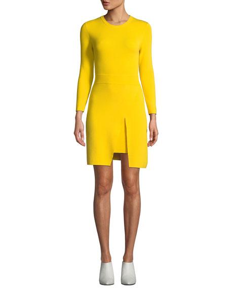 A.L.C. Hadley Long-Sleeve Dress w/ Slit Skirt Overlay