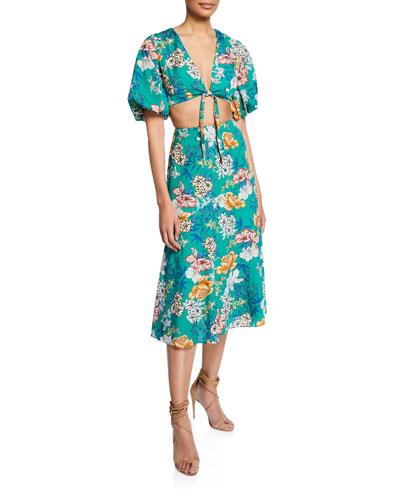 Floral-Print Two-Piece Tie-Front Crop Top & Skirt Set
