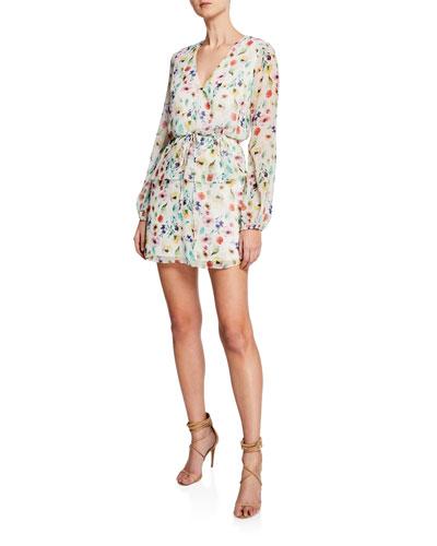Floral-Print V-Neck Long-Sleeve Dress