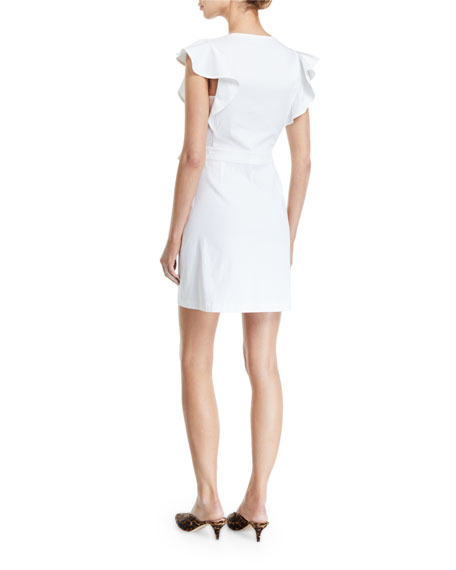 A.L.C. Sidelle Surplice Flutter-Sleeve Wrap Dress