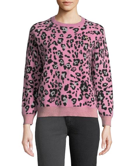 Replica Los Angeles Metallic Leopard-Print Wool Crewneck Sweater