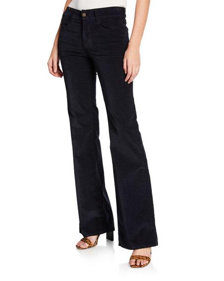 Atelier Notify Dahlia High-Rise Velvet Flare Jeans