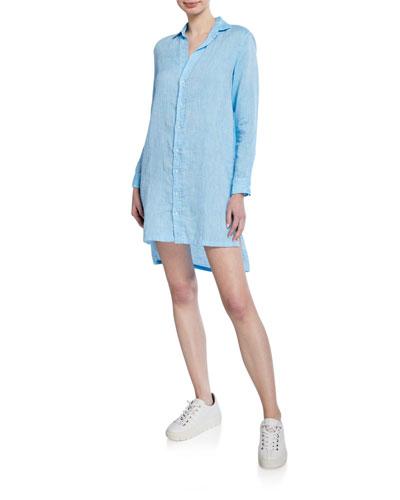 Button-Down Long-Sleeve Cotton Shirtdress  Blue