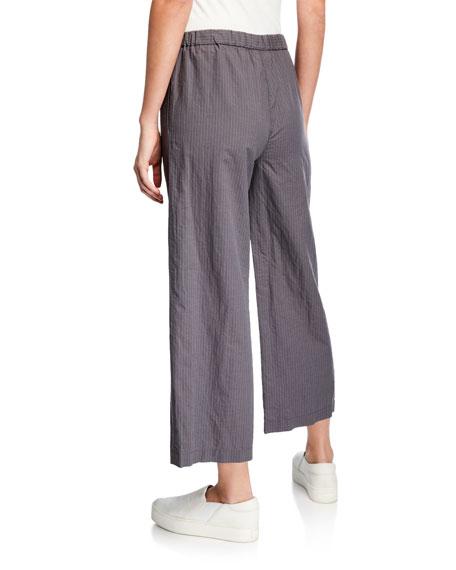 Aspesi Pinstripe Cropped Wide-Leg Cotton-Blend Pants