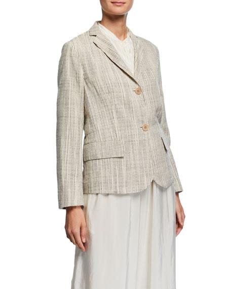 Aspesi Pinstripe Boxy Organic Cotton Jacket