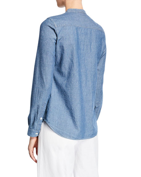 Aspesi Crewneck Long-Sleeve Pintuck Chambray Shirt