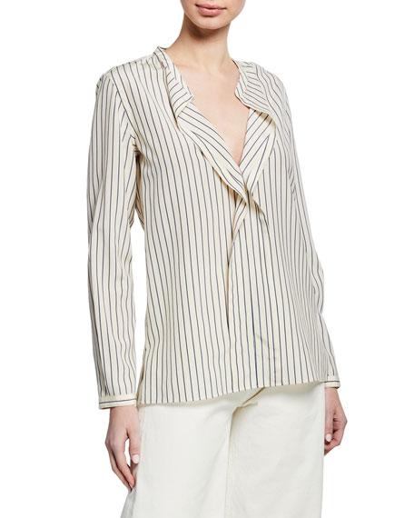 Aspesi Striped V-Neck Long-Sleeve Silk Blouse w/ Flounce Detail
