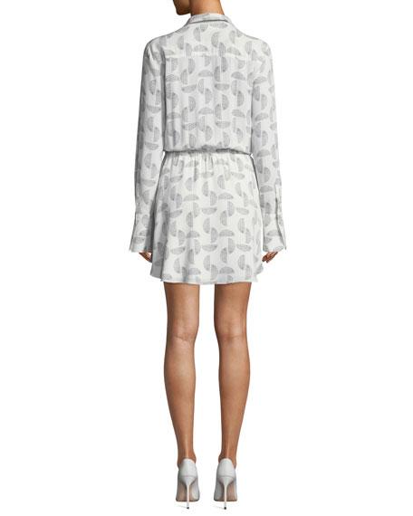 A.L.C. Isobel Long-Sleeve Drawstring-Waist Mini Dress