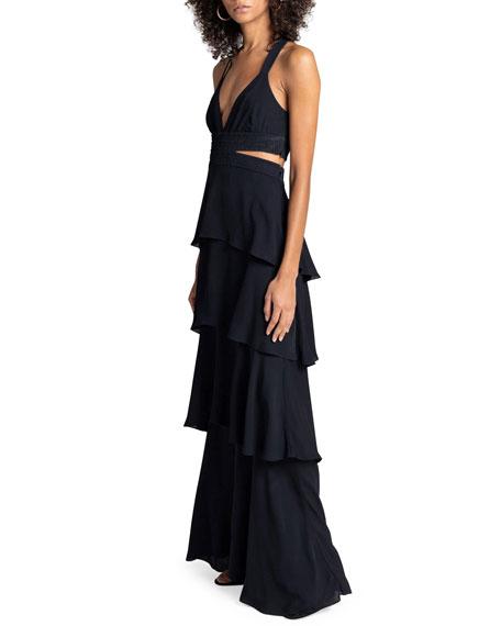 A.L.C. Lita Tiered Silk V-Neck Maxi Dress