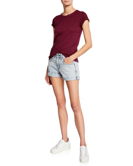 Rag & Bone Mid-Rise Frayed Denim Boyfriend Shorts