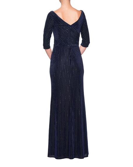 La Femme V-Neck 3/4-Sleeve Striped Velvet & Rhinestone Column Gown