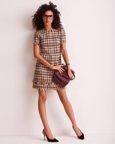kate spade new york Bicolor Tweed Crewneck Short-Sleeve Mini Dress w/ Fringe Trim