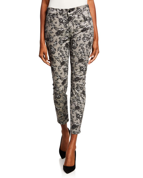 Jen7 by 7 for All Mankind Lace Noir Printed Mid-Rise Ankle Skinny Jeans