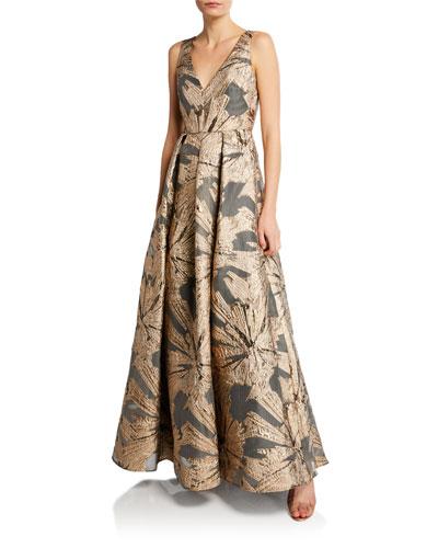 V-Neck Sleeveless Metallic Jacquard A-Line Gown
