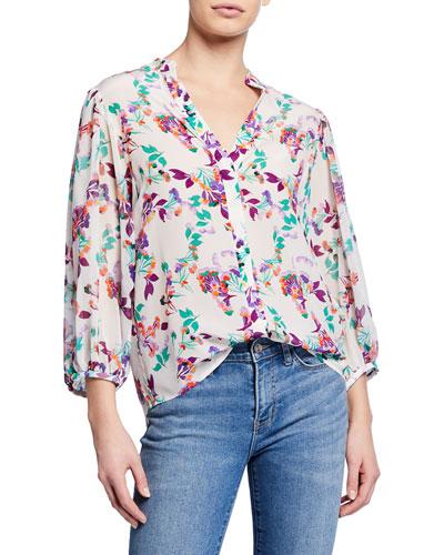 Chloe Floral Silk Button-Up Blouse