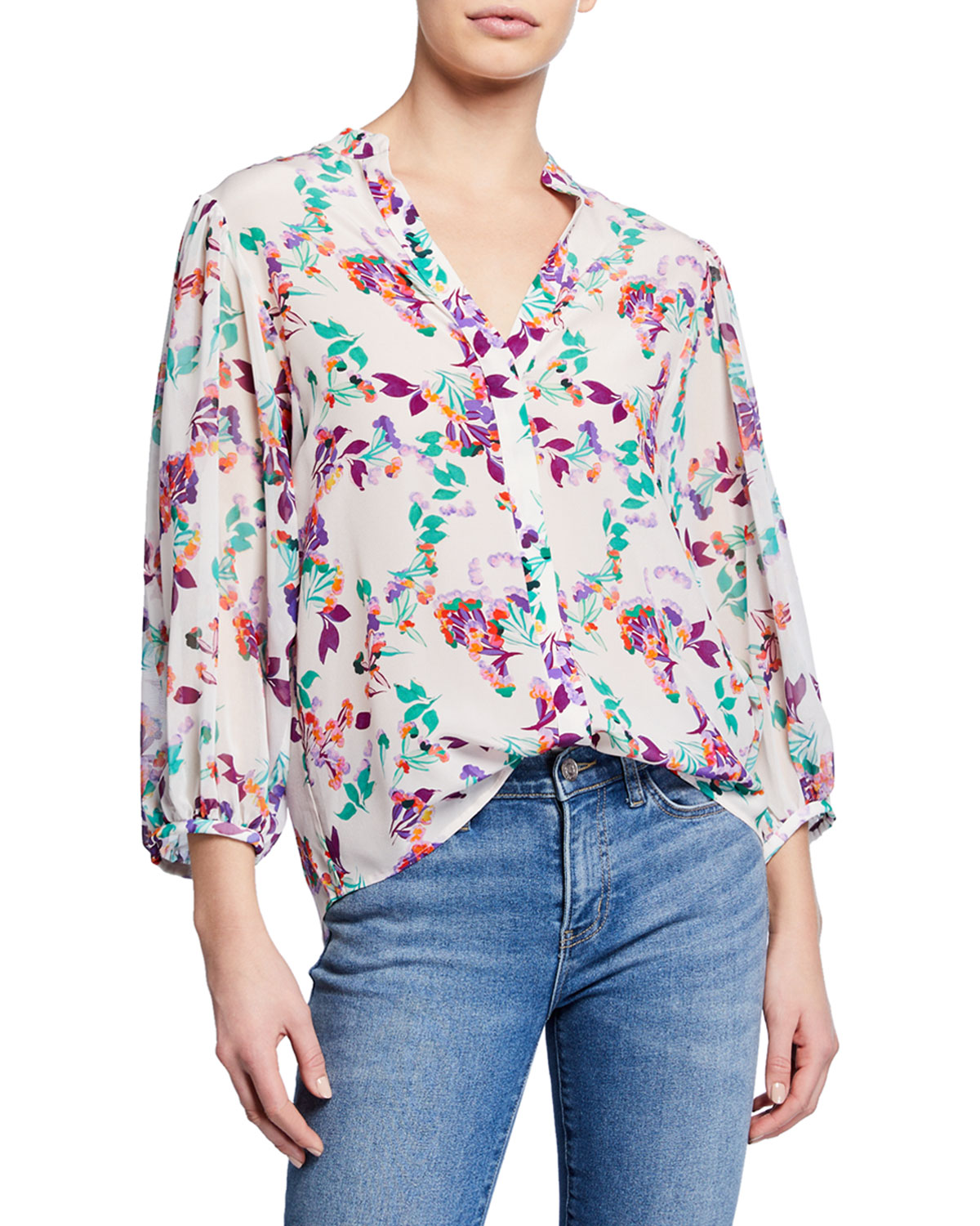 204b062de Saloni Chloe Floral Silk Button-Up Blouse | Neiman Marcus