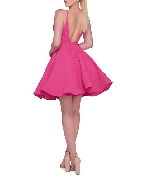 Ieena for Mac Duggal V-Neck Spaghetti-Strap Fit-and-Flare Mini Dress