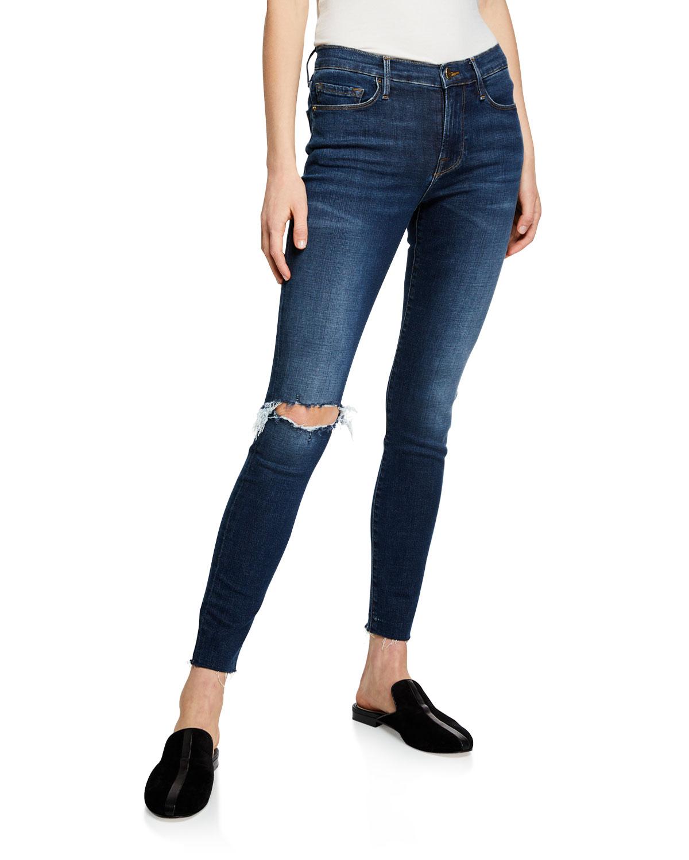 8f0d4f49fe041 FRAME Le Skinny De Jeanne Raw-Hem Mid-Rise Jeans