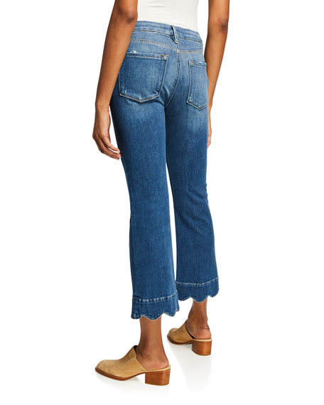 FRAME Le Crop Mini Boot-Cut Jeans with Scalloped Hem