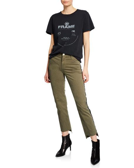 FRAME Le High Straight Raw Stagger-Hem Jeans w/ Tuxedo Stripes