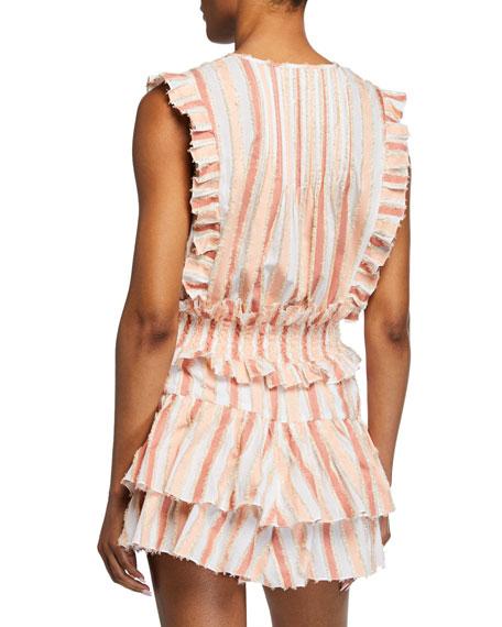 Caroline Constas Nika Striped Sleeveless Ruffle Top