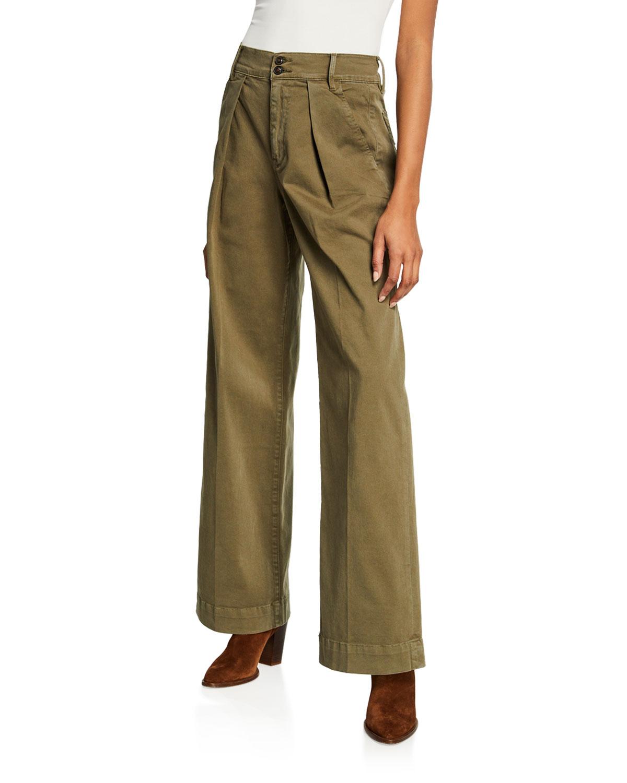 bcc237c00fd9e FRAME Stretch-Cotton Wide-Leg Trousers   Neiman Marcus