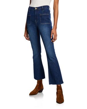 0401e99dda9dde FRAME Le Bardot Crop Flare Raw-Edge Jeans