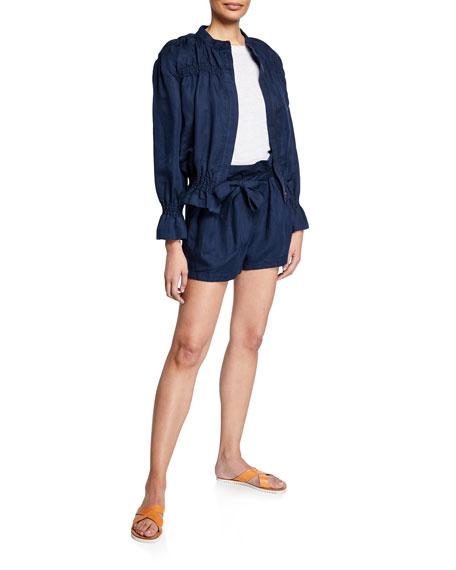 FRAME Belted Paperbag Linen-Blend Pocket Shorts