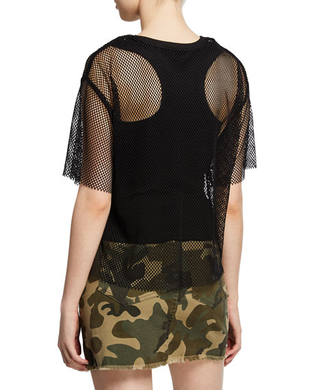 Kendall + Kylie Fishnet Mesh Tee w/ Ribbed Tank