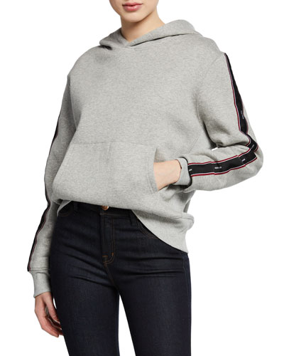 Side-Stripe Cotton Pullover Hoodie