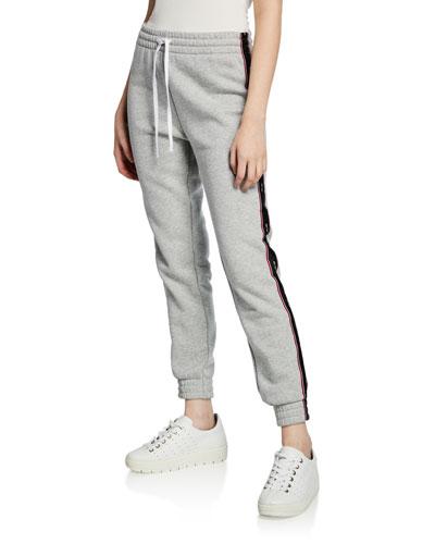 Drawstring Fleece Sweatpants w/ Side Stripes