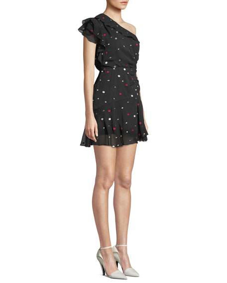 La Maison Talulah Say So Dot-Print Ruffle One-Shoulder Cocktail Dress