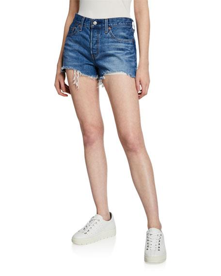 Levi's Premium 501 Frayed Denim Cutoff Shorts