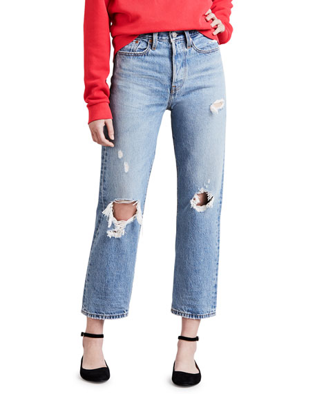 Levi's Premium Wedgie Fit Distressed Straight-Leg Cropped Jeans