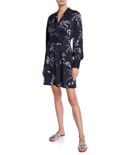 Fanetta Surplice-Neck Long-Sleeve Dress