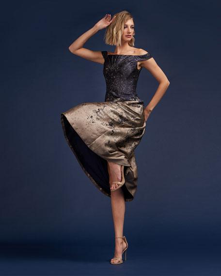 Kay Unger New York Metallic Off-the-Shoulder Short-Sleeve Midi Cocktail Dress