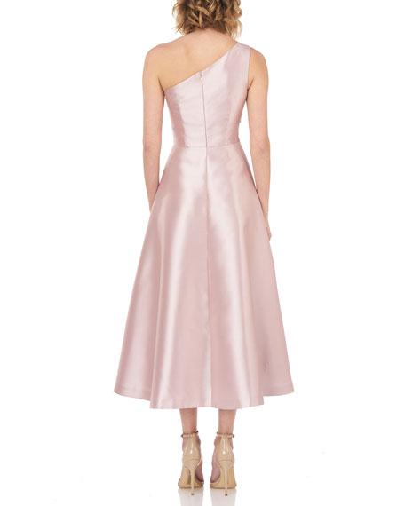 Kay Unger New York One-Shoulder Sleeveless Midi Dress