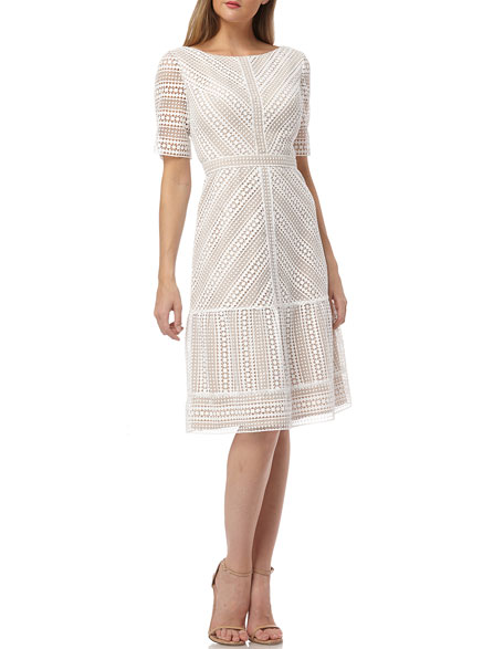 Kay Unger New York Mitered Lace Bateau-Neck Short-Sleeve A-Line Dress