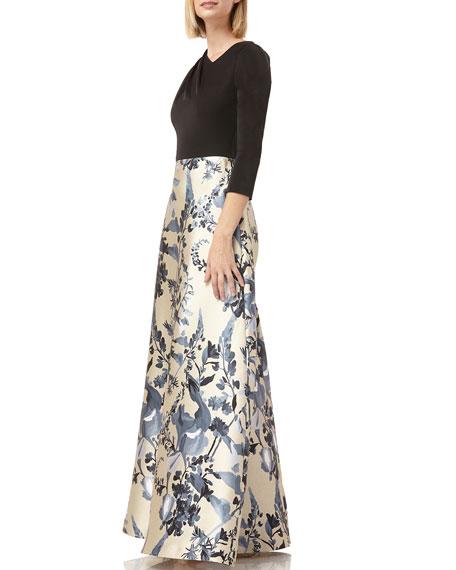 Kay Unger New York Asymmetric Cowl-Neck 3/4-Sleeve Printed Mikado Gown