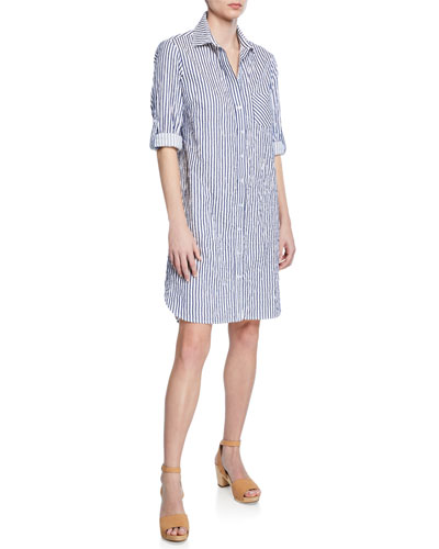 Alex Spectator-Stripe Button-Front Long-Sleeve Shirtdress  Petite