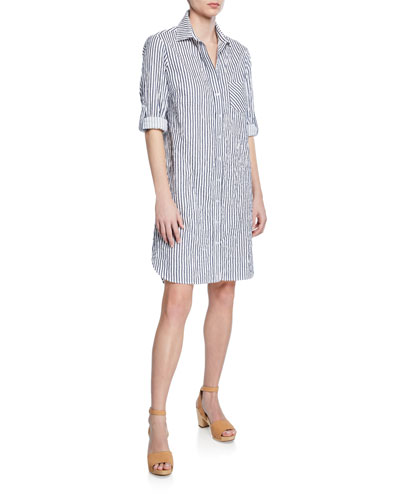 Plus Size Alex Spectator-Stripe Button-Front Roll-Tab Shirtdress