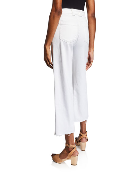 PAIGE Nellie Cropped Raw-Edge Culottes