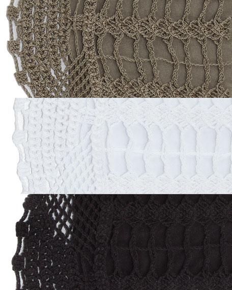 XCVI Pastoral Scoop-Neck Crochet Poncho Top w/ Built-in Tank Top