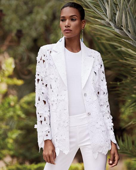 Berek Peek-A-Boo 3D Open Floral Lace Button-Front Jacket