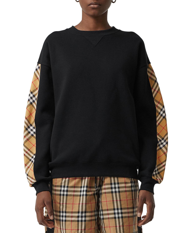 fe15d451275c5 Burberry Bronx Crewneck Long-Sleeve Jersey Sweatshirt with Vintage Check  Detail