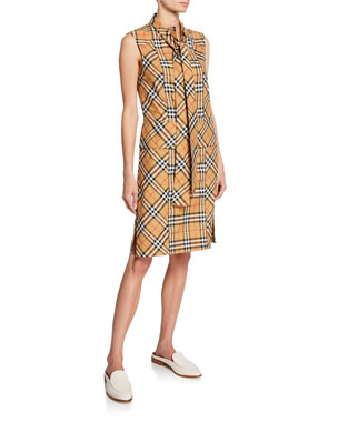 4157a2cdb9 Burberry Luna Tie-Neck Check Dress